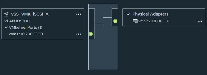 v Physical Adapters  vmnic210000 Full  VLAN ID: 300  v VMkernel Ports (1)  vmk3 :