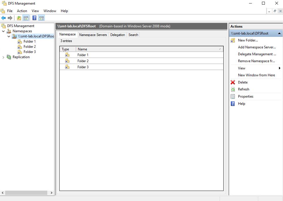 OFS Management  File Action View Window Help  zbll O d  OFS Management  v Namespaces  Folder I  Folder 2  Folder 3  Replication  (Domain-based in Windows Server 2008 mode)  Namespace Namespace Servers Delegation Search  FSRoot  Type  Name  Folder I  Folder 2  Folder 3  New Folder...  Add Namespace Server...  Delegate Management  Remove Namespace fr...  New Window from Here  Delete  Refresh  Properties  Help