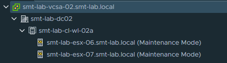v @ smt-lab-vcsa-02_smt-lab.locaI  smt-lab-dc02  a:] smt-lab-cl-wl-02a  (Maintenance Mode)  smt-lab-esx-07_smt-lab_local (Maintenance Mode)